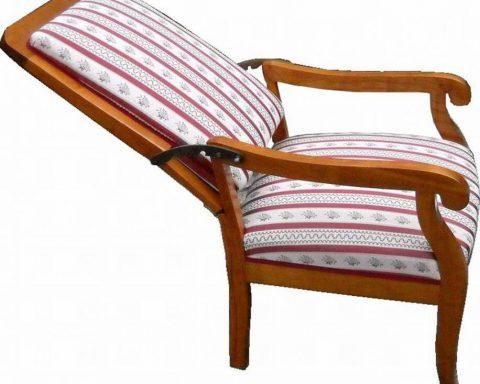 F37 Biedermeier Sessel mit verstellbarer Rückenlehne
